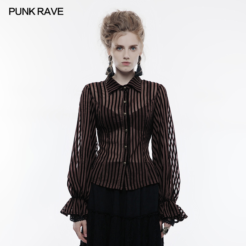 Punk Rave Steampunk Clear Striped Shirt Prime Shirt Classic Victorian Collared Social gathering Clothes Girls Tops Blouses & Shirts, Low-cost Blouses & Shirts, Punk Rave Steampunk Clear Striped Shirt...