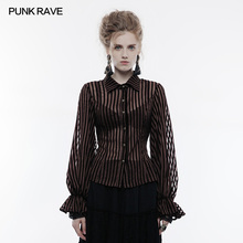 Punk Rave Steampunk Transparent Striped Shirt Top Blouse Vintage Victorian Collared Party Clothing Women Tops