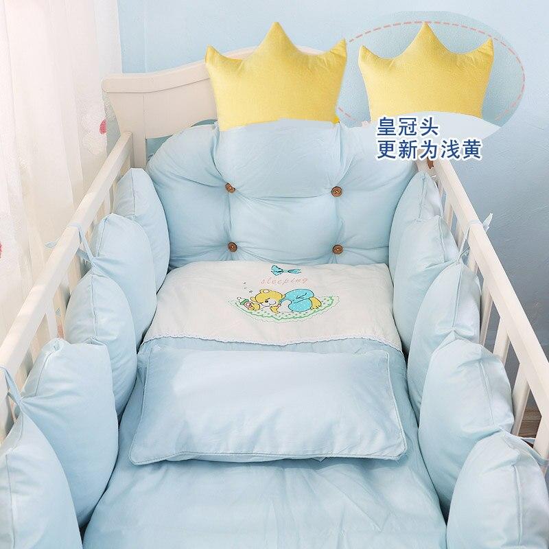9pcs/set Crown Design Baby Bedding Set Include Bumper Pillow Quilt Mattress Cover Soft Cotton Baby Bedding Infant Crib Bed Linen