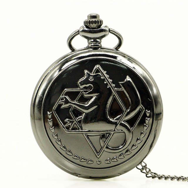 Fashion Tone Fullmetal Alchemist Pocket Watch Cosplay Edward Elric With Chain An
