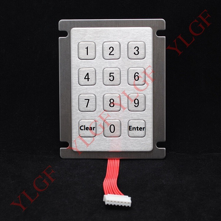 ФОТО Metal keyboard  Clear    Enter  YLGF HSK66-S12-PIN   7PIN scanning lines ( I/O) 12 key waterproof (IP65), dust, anti violence