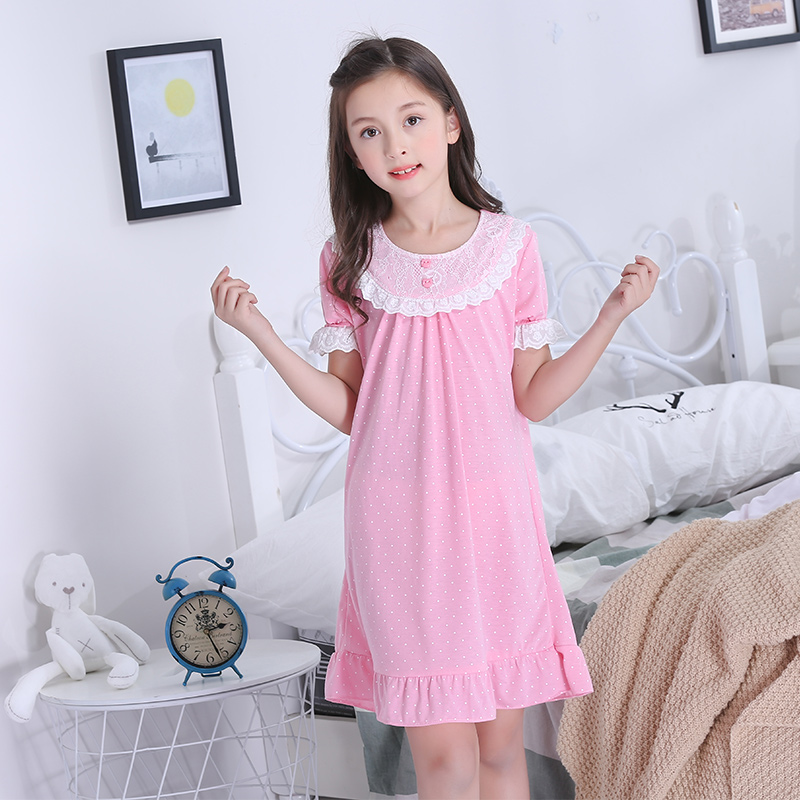 2019 Girls Princess Night Gown Summer Short Sleeve Nightgown Kids Lovely Nightdress Cute Cotton Child Baby Sleeping Dress 4-12y