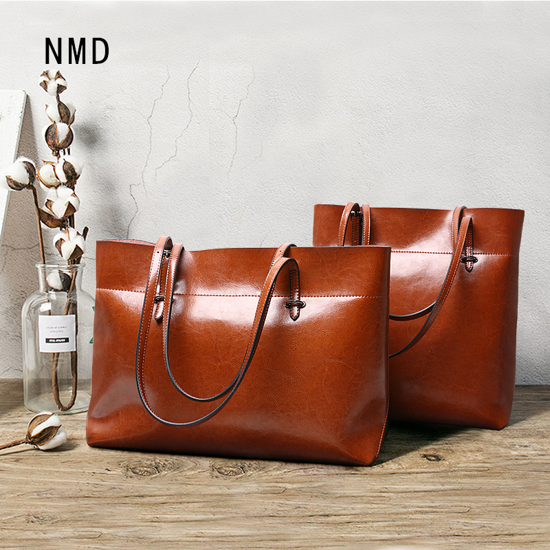 NMD New oil wax leather retro style ladies handbag High quality double thread sewing female shoulder bag women leather handbagsNMD New oil wax leather retro style ladies handbag High quality double thread sewing female shoulder bag women leather handbags