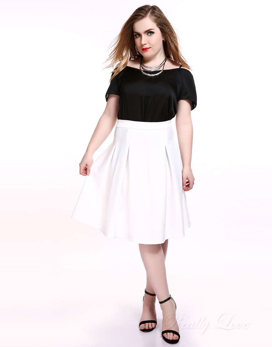 Really Love Women's Plus Size A line Skirt White High Waist ...