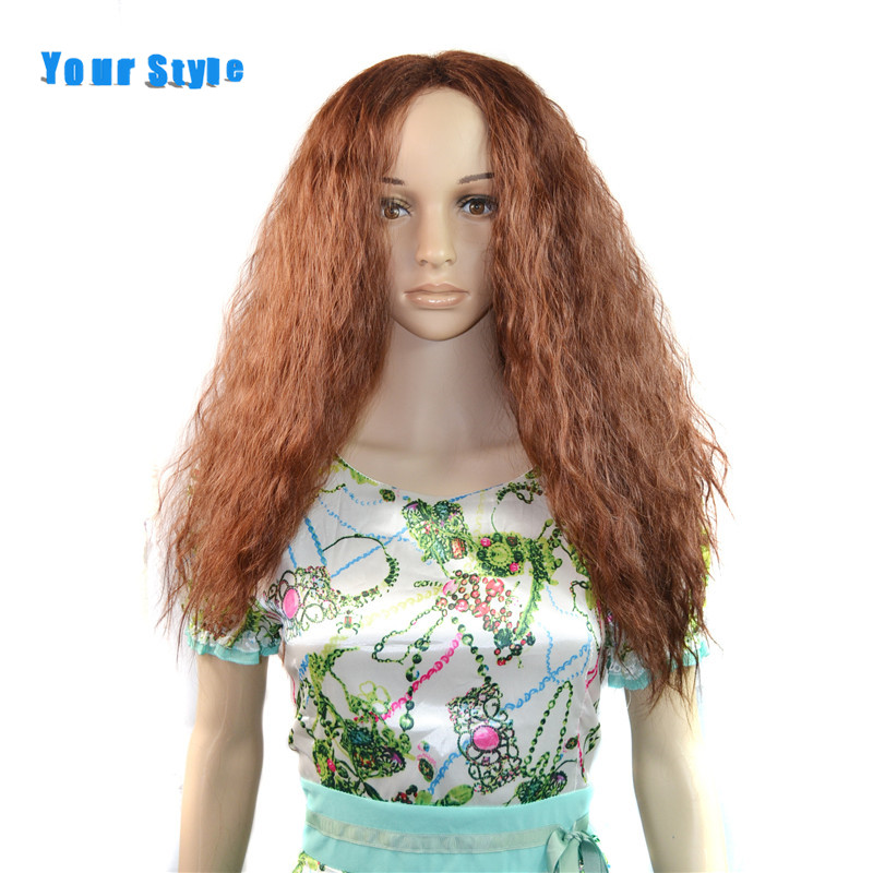 Your Style Synthetic Long Kinky Curly Cosplay Wigs For Black Women Natural Afro Hair Wig Light Brown Heat Resistant Fiber