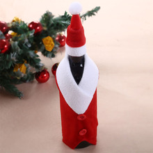 Christmas Wine Bottle Set Santa Claus Button Decor Bottle Cover Cap Clothes Kitchen Decoration for New Year Xmas Dinner Party
