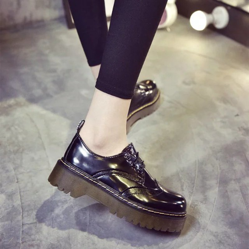 Dentelle 2018 Cuir 35 En 40 Plate Cootelili Chaussures Dames 4 Pu Appartements Noir Femme Designer Plat up Femmes forme De Brogue vert Luxe Cm Talon awXaq