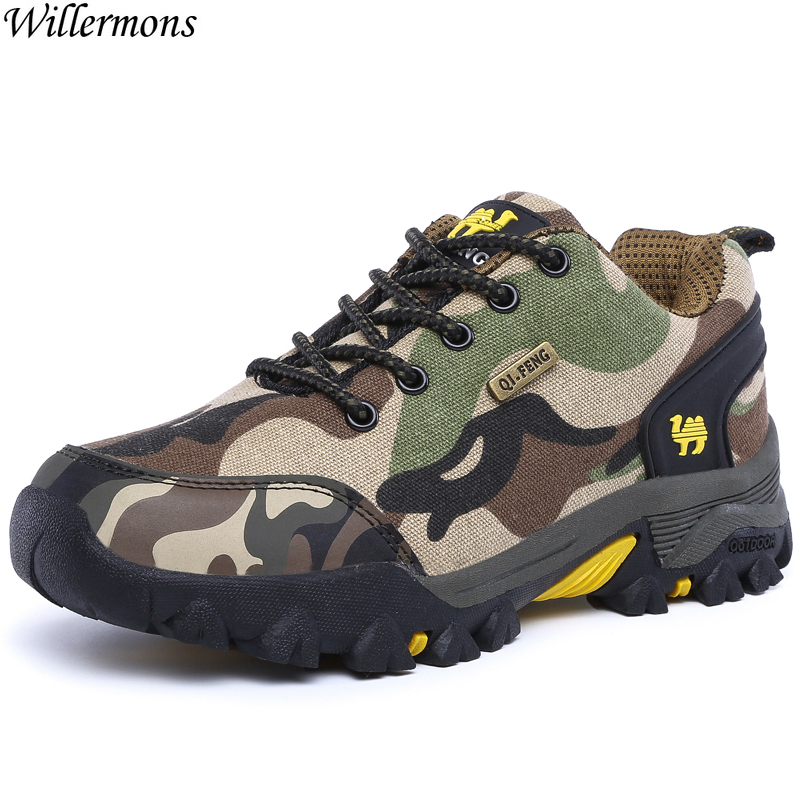 Camouflage Outdoor Mens Breathable Hiking Sneakers Shoes Men Anti-slip Climbing Sports Shoes Camping Tactical Army Boots
