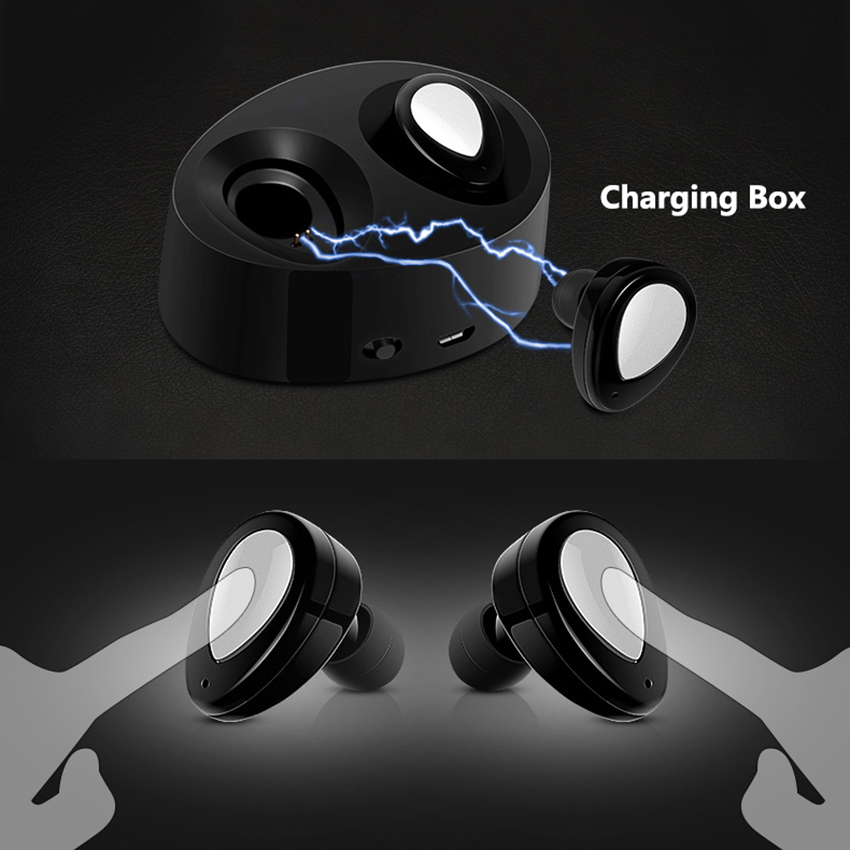 TWS K2 Twins Portable Mini Wireless EarBud Stereo Power Bank Bluetooth Earphone Stereo Headset with Charging Cradle for Phones