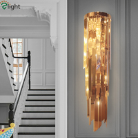 Modern Hotel Luxury H100cm Plate Gold E14 Led Wall Lamp Stainless Steel Luminarias Wall Light Lustre Led Lighting Fixtures