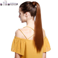 S-noilite 24'' Long Straight Ponytails Clip In Ponytail Drawstring Synthetic Pony Tail Heat Resistant Fake Hair Extensions(China)