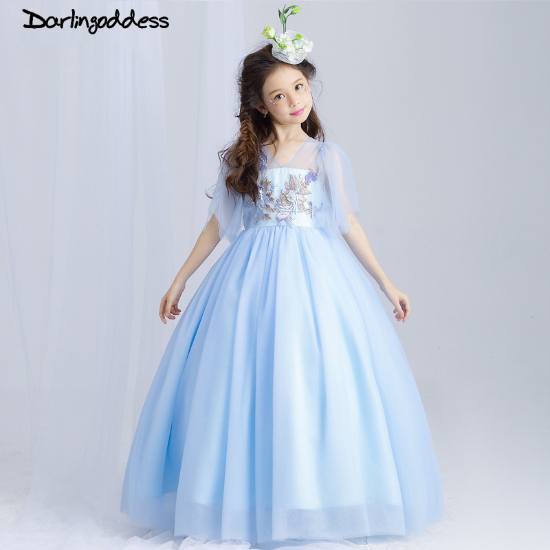 2017 Light Blue Flower Girl Dress Kids Ball Gowns First Communion ...