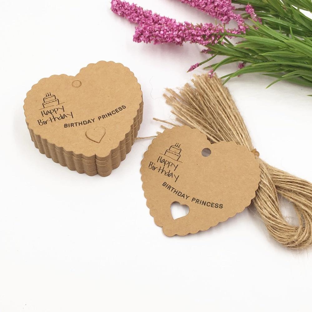 200pcs/lot 6.5*6cm Cute Heart Shaped Paper Tag Gift Box