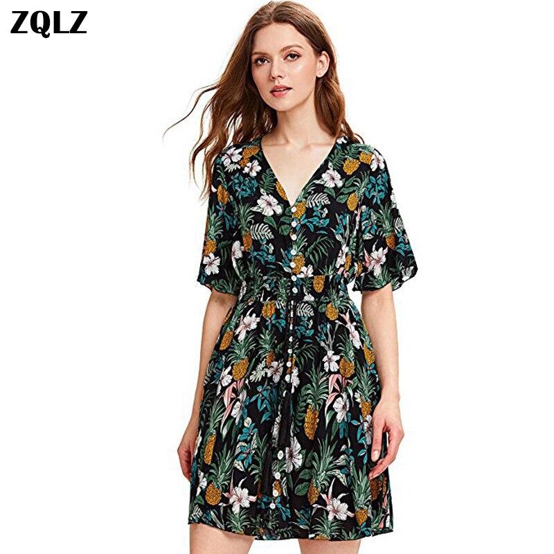 Zqlz 2018 Print Floral Vintag Women Dress Summer V Neck -9511