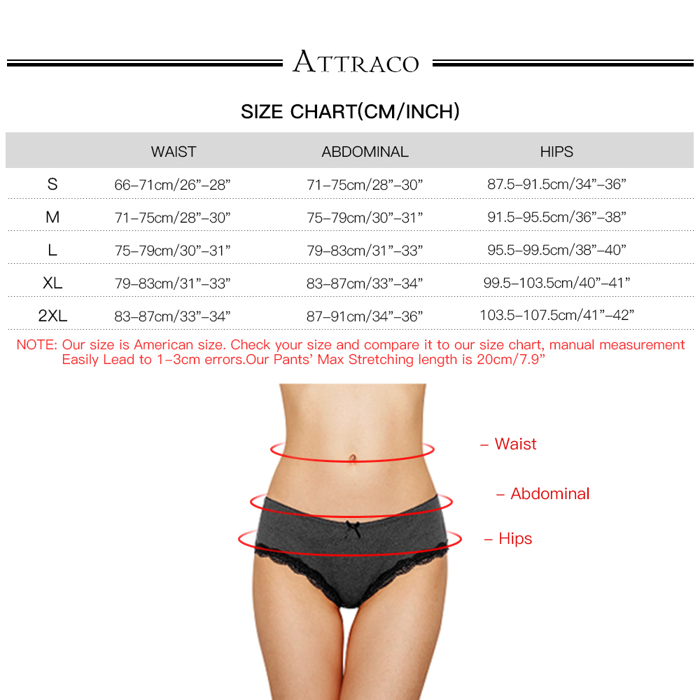 ATTRACO Women Hipster Underwear String Pantie Briefs Cotton 6 Pack Cueca Calcinha  Tanga Thong Lace Edge Breathable Transparent