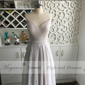 Image 5 - Mryarce 2019 Boho Chic Wedding Dresses Spaghetti Straps Twist Lace Chiffon A Line Open Back Bohemian Dress Bridal Gown