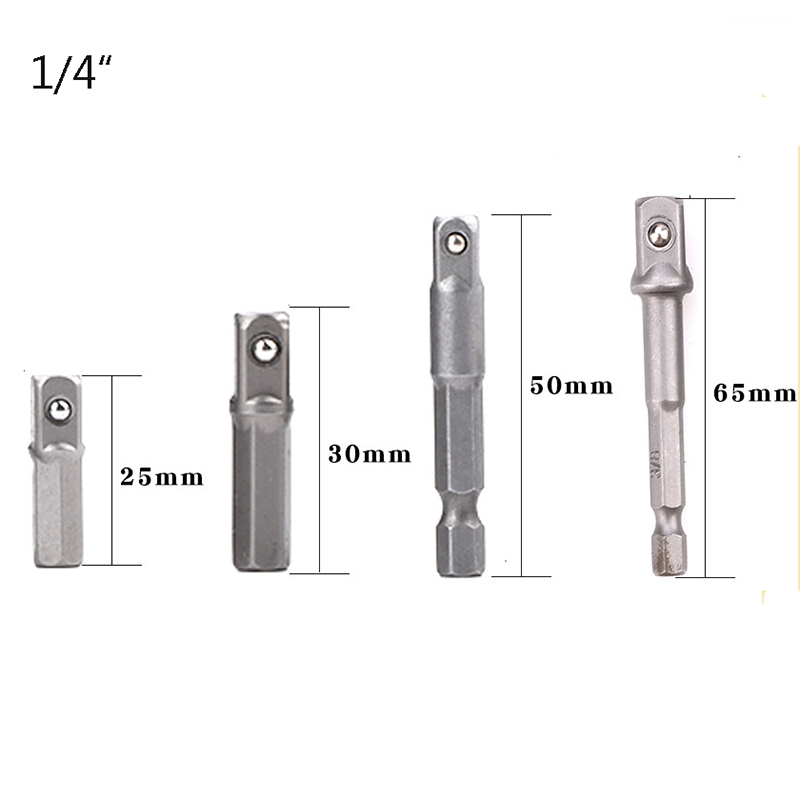 TUOSEN 1pc 4pcs Drill Socket Adapter For Impact Driver W/ Hex Shank To Square Socket Drill Bits Bar Extension 1/4
