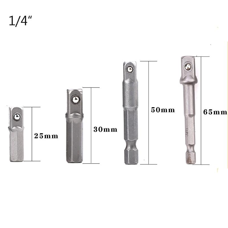 "TUOSEN 1pc 4pcs Drill Socket Adapter for Impact Driver w/ Hex Shank to Square Socket Drill Bits Bar Extension 1/4"" Bit Set|Sockets| |  - title="