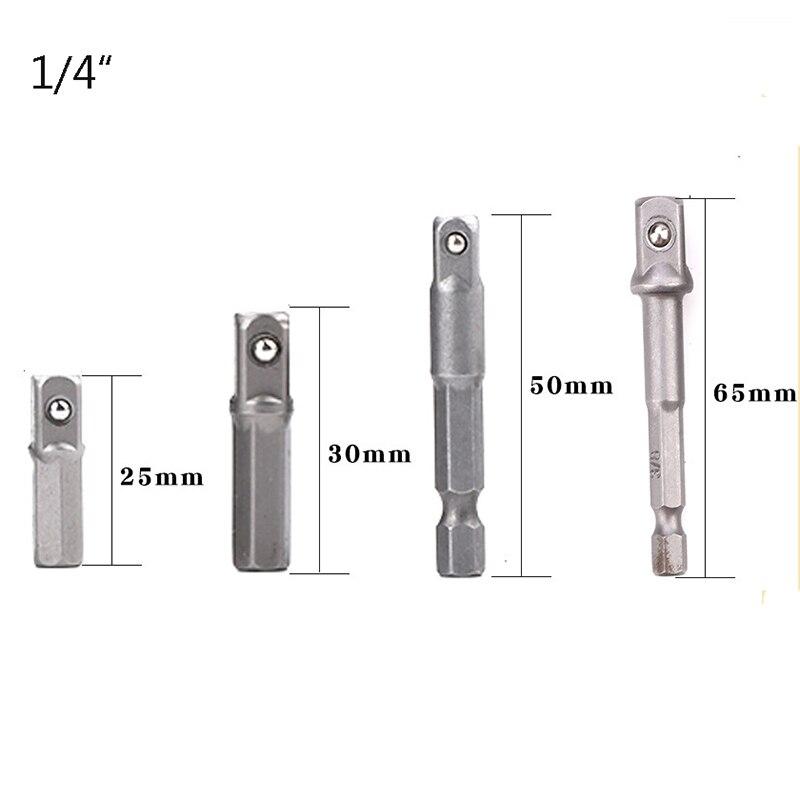 Tuosen 1 Pc 4 Stuks Boor Socket Adapter Voor Impact Driver W/Hex Schacht Vierkante Socket Boren bar Extension 1/4