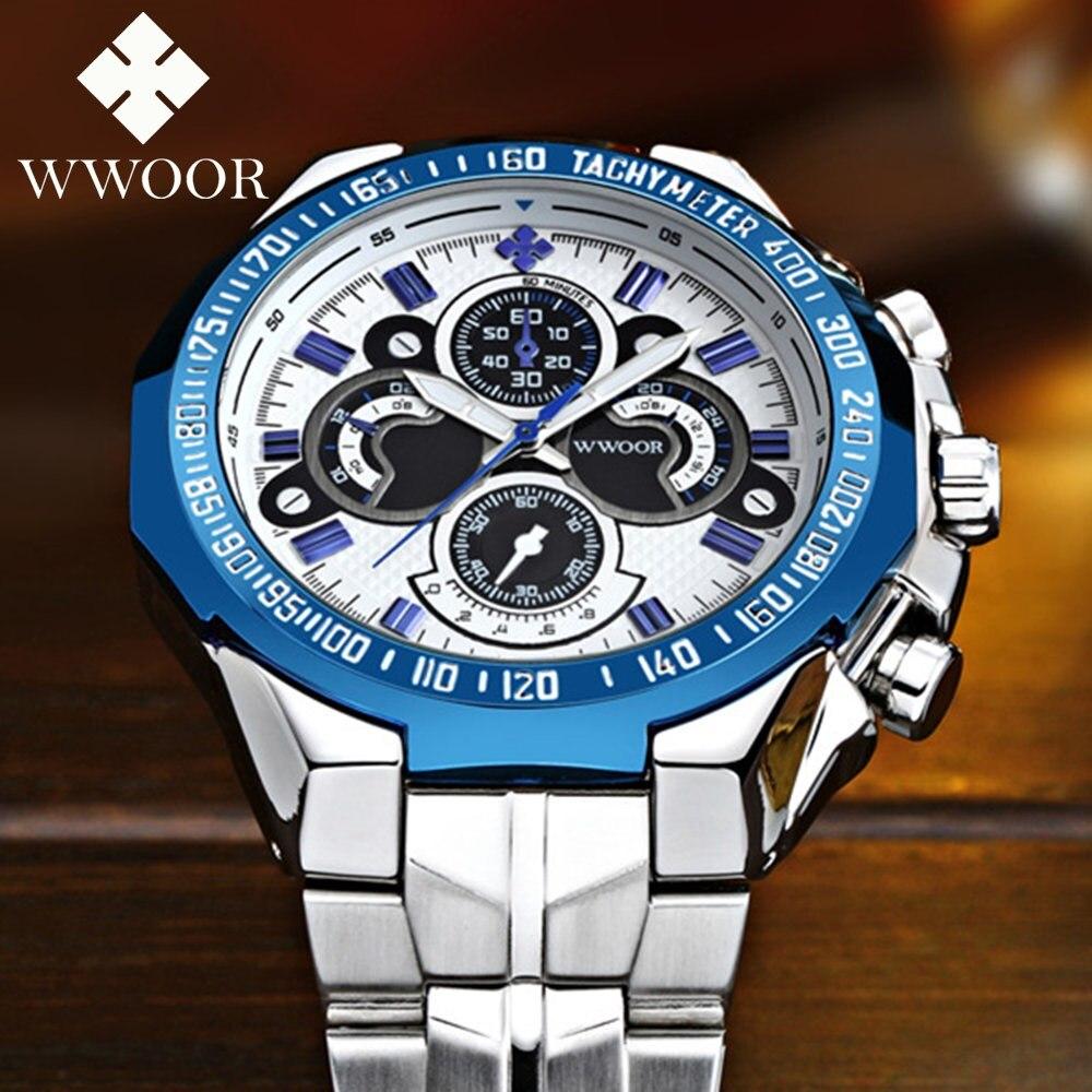 Relogio Masculino 2017 WWOOR Mens Watches Top Brand Luxury Casual Quartz Watch Men Full Steel 5ATM Sport Military Wristwatch