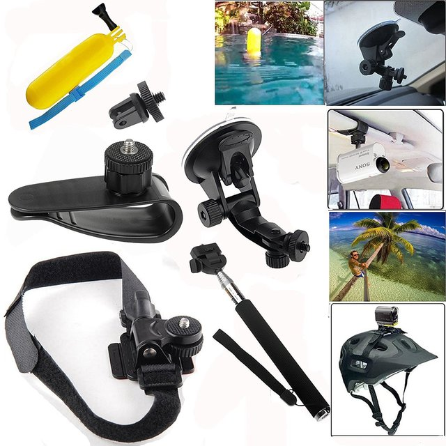 Kit para gopro ação cam mini câmeras car sun visor mount + ventosa car mount + telescópica extensível monopé selfie vara