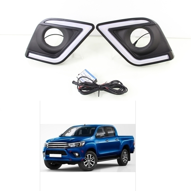 1 Set Driving Fog Lamp Covers White LED DRL Daytime Running Lights Lamps for TOYOTA HILUX REVO VIGO 2015-2016 qvvcev 2pcs new car led fog lamps 60w 9005 hb3 auto foglight drl headlight daytime running light lamp bulb pure white dc12v