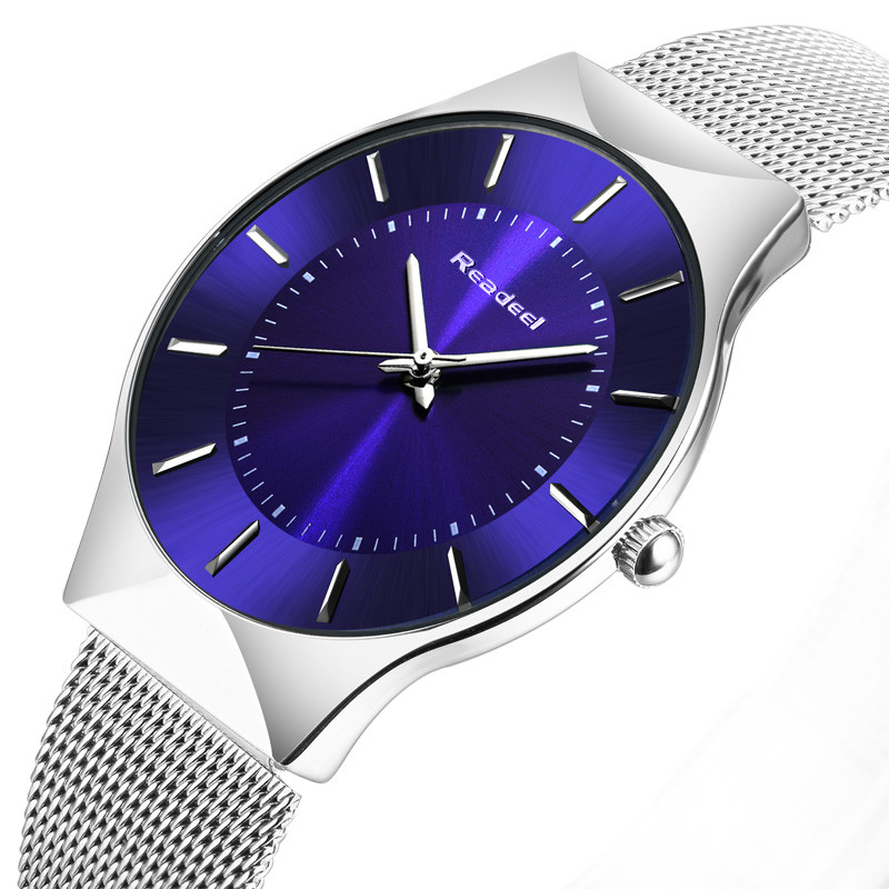 Readeel Top Brand Mens Watches Luxury Quartz Casual Watch Men Stainless Steel Mesh Strap Ultra Thin Dial Clock relogio masculino new fashion brand round dial black couple watch men luxury stainless steel casual quartz watches relogio masculino clock hot
