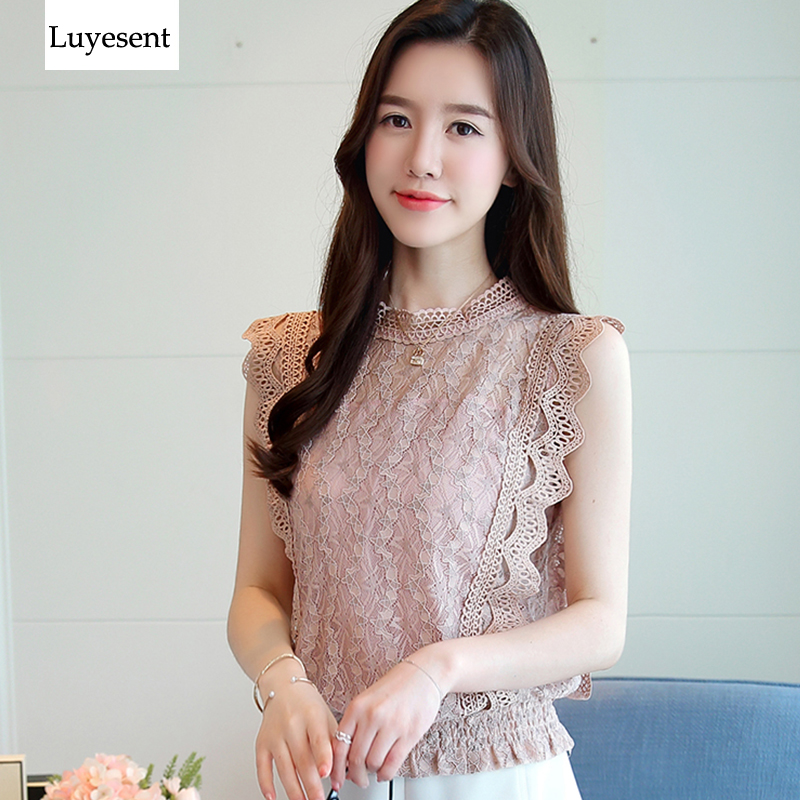 Sweet Blue Pink Lace Women Chiffon Blouse Femme Sleeveless Hollow Out Korean O Neck Vintage Summer OL Blusa 2019 High Street Top-in Blouses & Shirts from Women's Clothing on AliExpress - 11.11_Double 11_Singles' Day 1