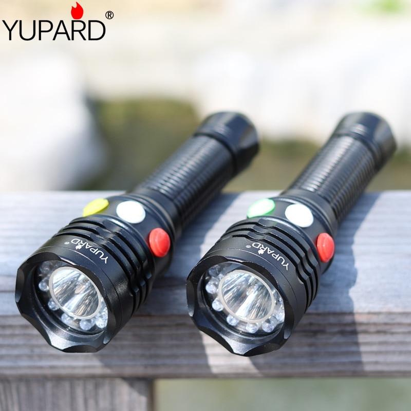 YUPARD Q5 LED сигнал шамы Жасыл сары Ақ Қызыл Жарықдиод Жарықдиодты шам Жарық шамдар шам 1x18650 немесе 3 x AAA батареясы үшін