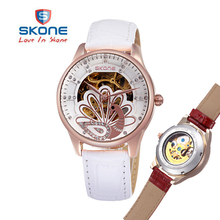 SKONE 2017 Women's Automatic Self-Wind Mechanical Watch Leather Band Ladies Fashion Casual Relojes Mechanical automatic mujeres