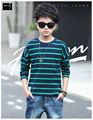 2017 New Boys T-Shirts Long Sleeve Striped Tees Shirts For Boys Clothes Cotton School Kids Tops Autumn Children Clothing 5-16Y