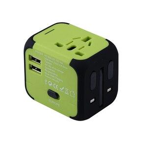 Image 2 - Spina elettrica adattatore per presa di corrente convertitore universale per caricabatterie da viaggio internazionale EU UK US AU con 2 LED di ricarica USB 2.4A