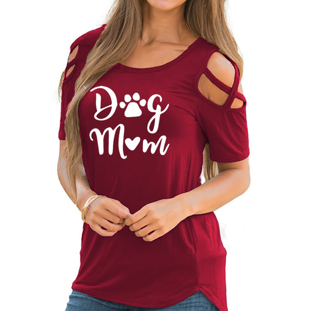 2019 New Fashion Dog Mom Print Tshirt Casual Short Sleeve Plus Size T-Shirt Female Cotton Cute Tops for Woman 1