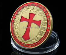 newest Knight Templar coin, free shipping 5pcs/lot Russia red Templar knight coin design 24K gold plated souvenir round coins
