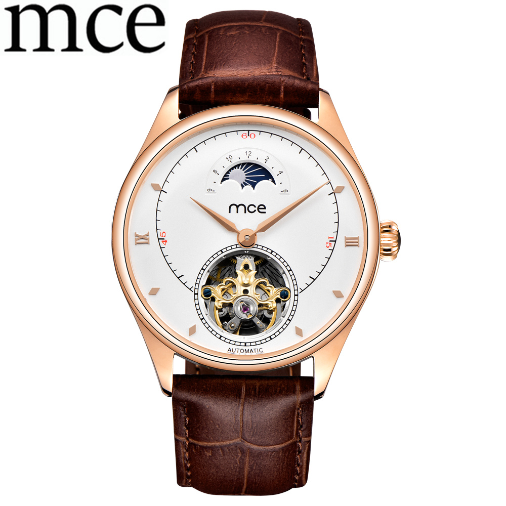 лучшая цена MCE Men Business Watch Casual Men Skeleton Automatic Mechanical Watches Leather Band Men Wrist Watch Relogio Masculino