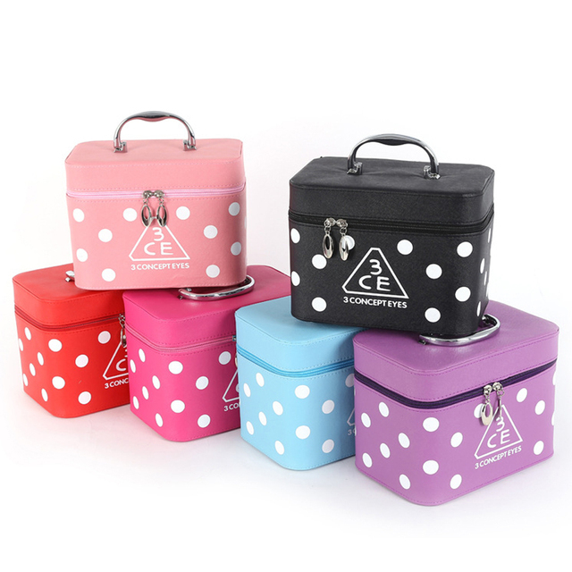 2017 New Large-capacity multi-function dots zipper travel 2pcs cosmetic box set waterproof wash cosmetic bag