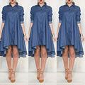 Новый Женский Леди Лето С Длинным рукавом Повседневные Платья Denim Party Beach Повседневная Мода Dress