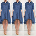 New Women Lady Summer Long sleeve Casual  Dresses Denim Party Beach Casual Fashion Dress
