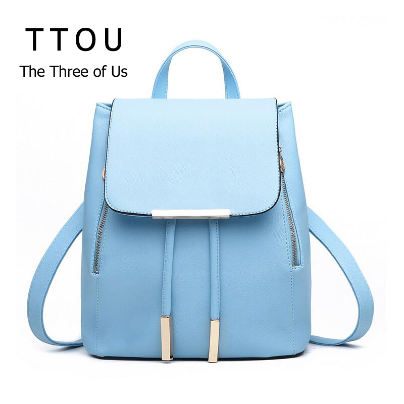 PU Leather Girl Backpack Schoolbag For Teenager Solid Top handle Women Bag Sac a Dos Fille