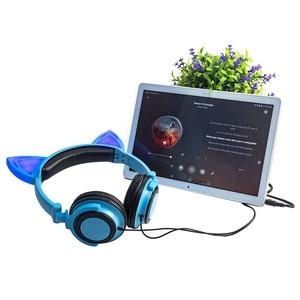 Image 3 - LIMSON przewodowe dzieci niebieskie słuchawki składane słodkie zwierzę ucho kota słuchawki do smartfonów komputer stancjonarny MP4