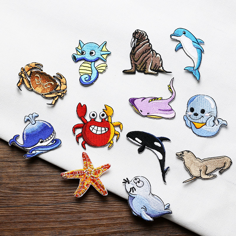 5 Pieces/lot Cute Fish Dophin Crab Embroidery Iron On Patch for Clothing Jeans Dress Sticker Applique Craft DIY Accessories