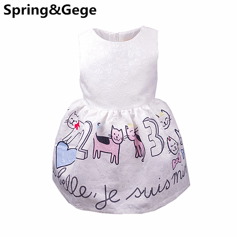 Girls Dress New Cute Baby girl Clothes Princess Tutu Dresses Sleeveless Animal Cat Print Kids Party Wedding Dresses for Girls