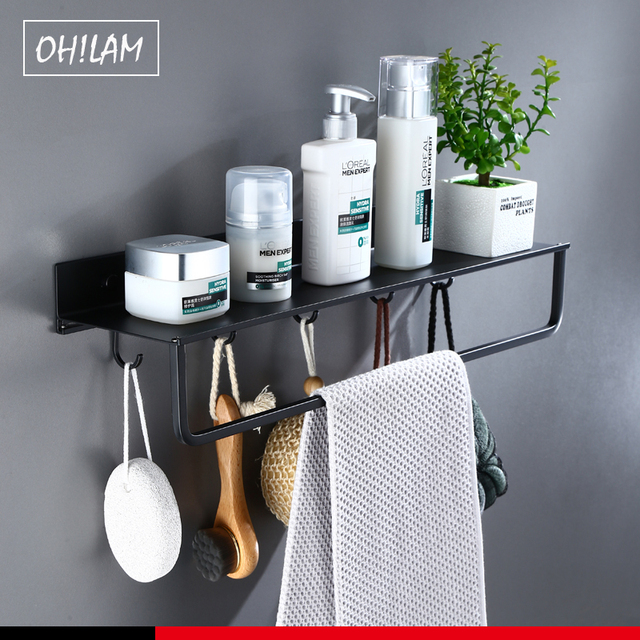 Black Bathroom Shelves 30 60cm Lenght Kitchen Wall Shelf Shower Basket Storage Rack Towel Bar Robe Hooks Bathroom Accessories