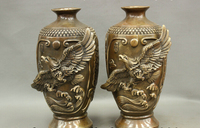 wholesale factory 14 Chinese BRASS Copper Wealth Coin Fly Eagle Statue Great Wall Pot Vase Pair
