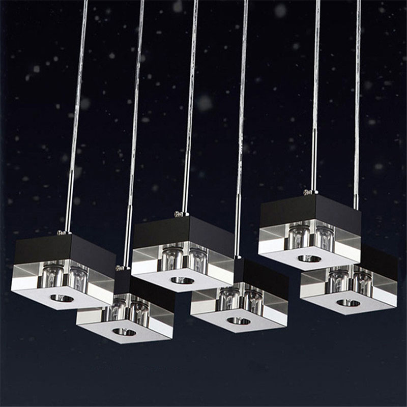 <font><b>Pendant</b></font> <font><b>Light</b></font> G4 LED Bulb Adapter k9 Crystal Black Clear Square Design Modern Restaurant <font><b>Light</b></font> <font><b>3</b></font> heads Hanging Lamps Customized image