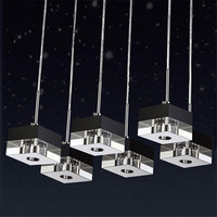 Pendant Light G4 LED Bulb Adapter k9 Crystal Black Clear Square Design Modern Restaurant Light 3 heads Hanging Lamps Customized