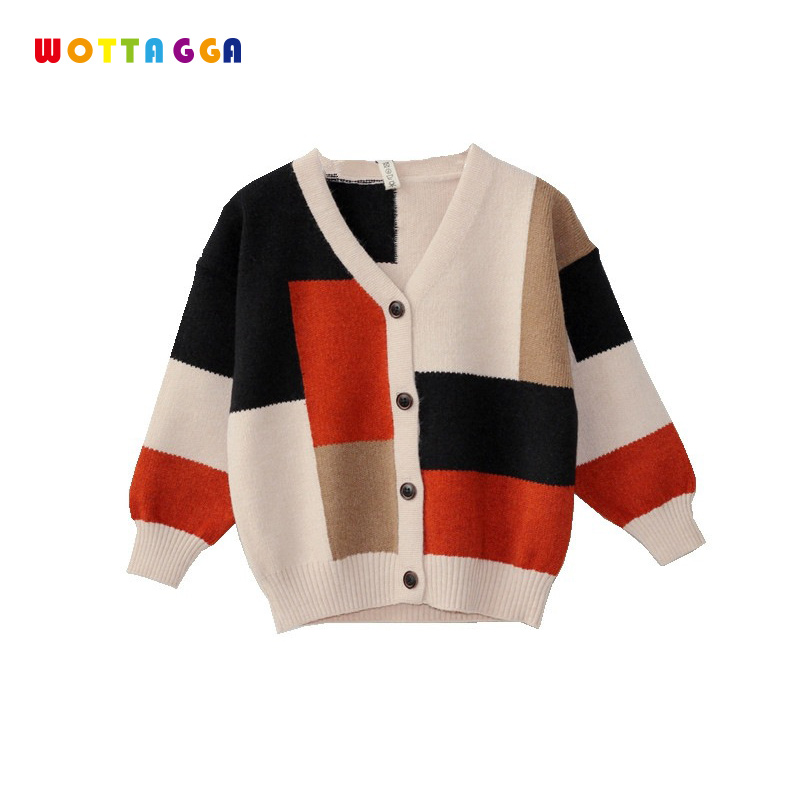 WOTTAGGA 2018 Autumn Kids Sweater Patchwork Design Boys Cardigan Long Sleeve Fashion Knitted Sweater 3-7Y Kids Clothing цена 2017