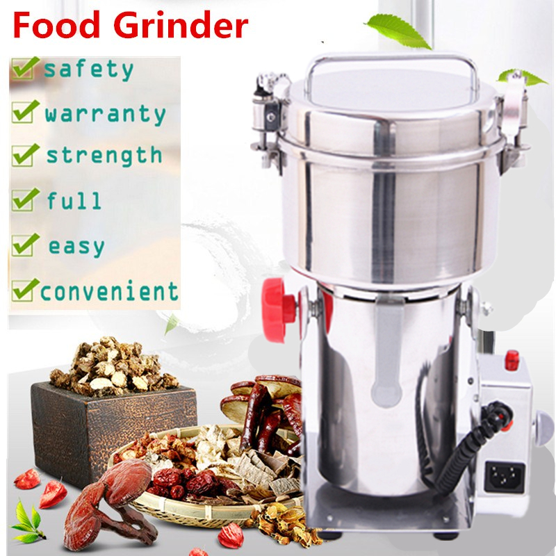 Multifunction Electric Swing Type 2000g Portable Grinder Herb Flood Flour Pulverizer Food Mill Grinding Machine chinese supplier stainless steel 2000g 2kg household electric swing grinder mill small powder machine food grinding machine
