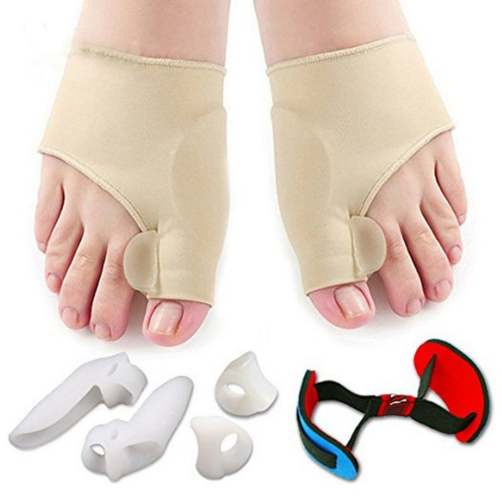New 7pcs/set Soft Bunion Protector Toe Straightener Toe Separating Silicone Toe Separators Thumb Feet Care Foot Pain Easese