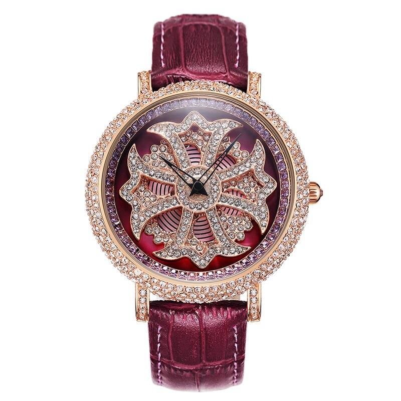 Diamant stein damen uhr große zifferblatt quarzuhr wasserdicht mode glänzende muster weiblichen uhr mit leder armband - 5